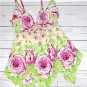 Betsey Johnson Sheer Babydoll Nightgown Floral